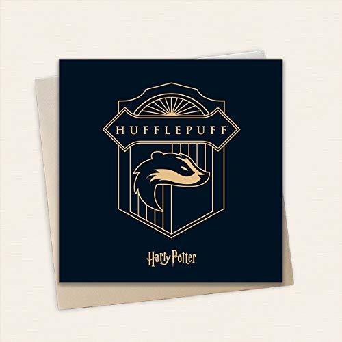 Harry Potter Hufflepuff Verjaardagskaart - Gouden Embossed Card van hoge kwaliteit | Inclusief 1 x Eco-Craft Envelop | 15 x 15cm | Officieel gelicenseerde Harry Potter Merchandise