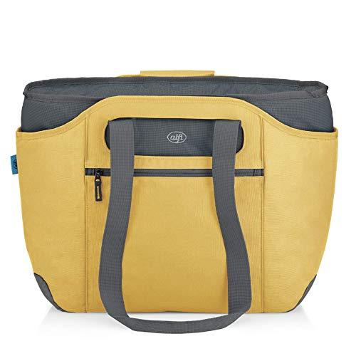 alfi Thermo-Kühltasche, isoBag mittel 23 Liter - Isolierte Einkaufstasche aus Polyester, gelb 57 x 38 x 50 cm - 2in1, Isoliertasche inkl. extra Tragetasche - 0007.295.812
