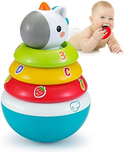 Yiosion Stacking Rings Baby Toy with Unicorn Topper Weeble Wobble Stacking Toys for 6 Months product image