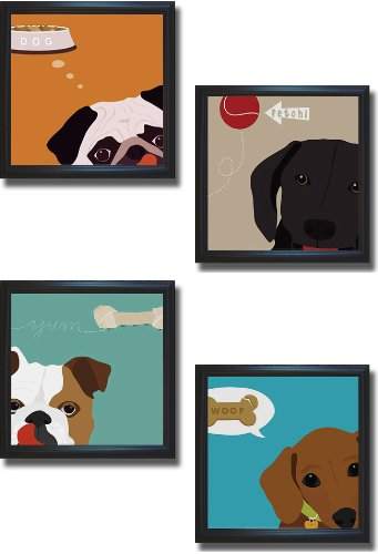 Artistic Home Gallery Peek a Boo Dog Collecton by Yuko Lau 4-pc Premium Black-Framed Canvas Set (Ready to Hang)