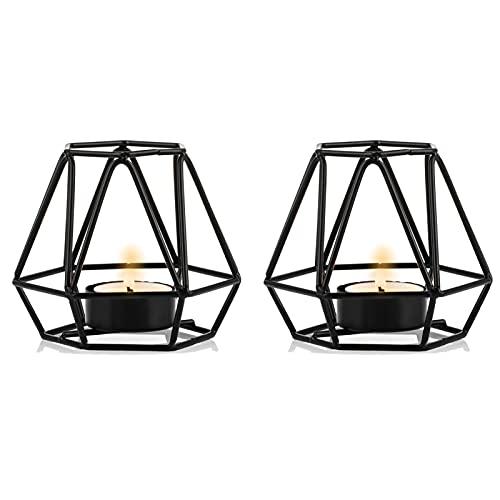 Nuptio 2 Stück Teelicht Kerzenhalter - Schwarzer Teelichthalter Metall Sechseck Geometrische Teelicht Votiv Kerzenhalter für Hochzeit Hause Wohnzimmer Couchtische Dekor, Ornamente für Weihnachtsfeier