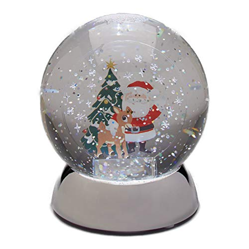 Department 56 Rudolph the Red-Nosed Reindeer and Santa Waterball Snowglobe