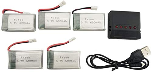 Fytoo 5PCS 3.7V 600mah Lipo-Battery with 5 in 1 Charger for MJX X708 X708W X709 UDI U45 U45W U42 U42W SYMA X5C X5SW X5SC S5 S5C S5W E32HW SS40 FQ36 T32 T5W H42 Quadcopter Drone Battery Parts