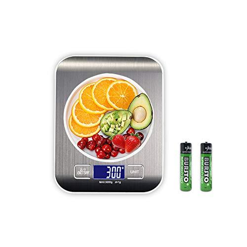 Báscula Digital para Cocina, Plataforma de Acero Inoxidable, con Gran Pantalla LCD e Almohadillas Antideslizantes, Color Plata(pilas incluidas) (5 KG)