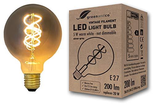 Vintage Glühfaden LED Lampe silbergrau ersetzt 20W E27 G95 5W 200lm 2200K extra warmweiß 360° 230V nicht dimmbar 2 Jahre Garantie