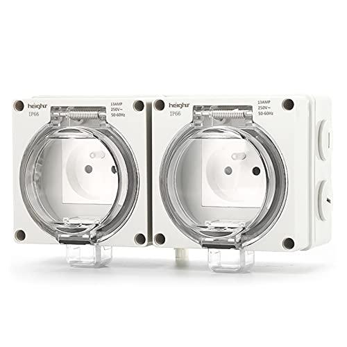 Toma eléctrica exterior, enchufe exterior francés, resistente al agua, enchufe interruptor doble toma 13 A 2 grupos IP66