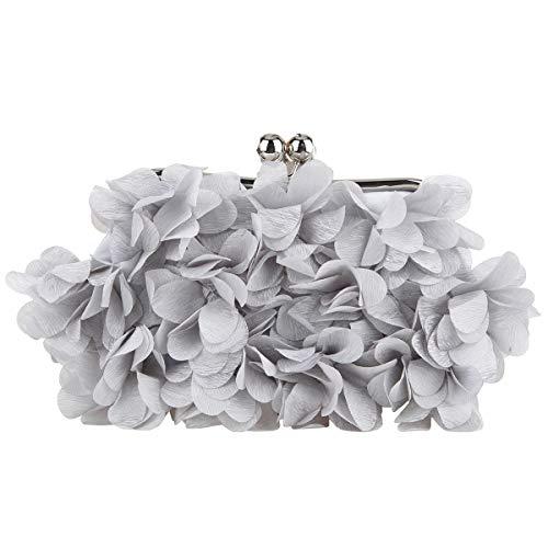Bonjanvye Pochette de soirée pour femme Motif floral, gris, S