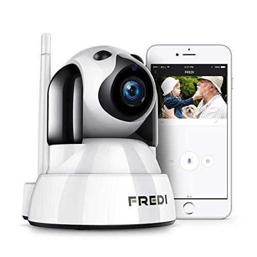 Fredi - Überwachungskamera Wifi, drahtlose Innenkamera, mit Fernbedienung, bidirektionales Audio, Infrarot-Nachtsicht., 1080P Telecamera di Sorveglianza