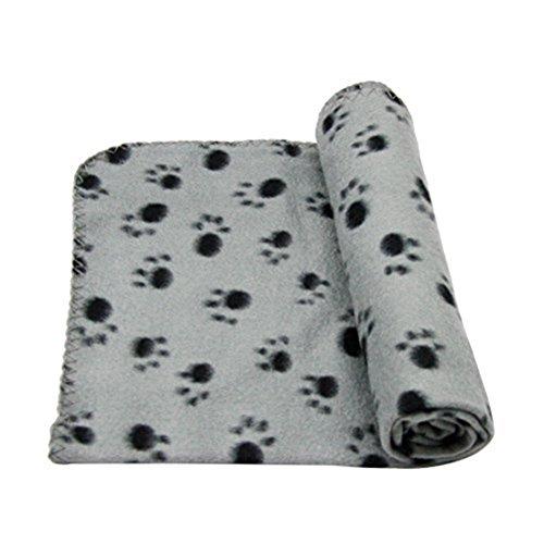 POPETPOP manta de forro polar con estampado de huellas de perro o gato (gris)