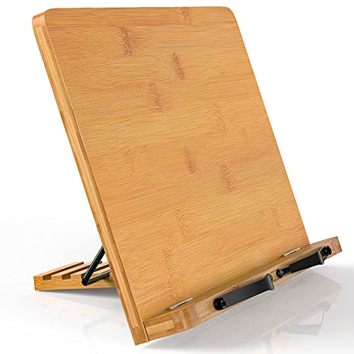 Bamboo Book Stand for Reading with Upright Adjustable Height, Foldable and Portable Wooden Laptop Stand Desk Books Holder Study Bookstands for Textbook Tablet