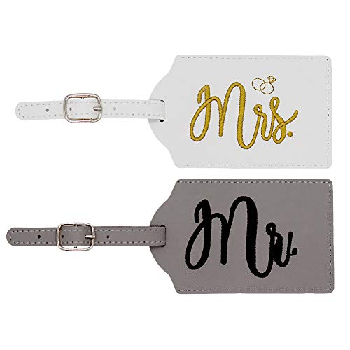 Y.A. LOTUS Mrs. and Mr. Honeymoon Wedding Luggage Tags, Exquisite Embroidered Mr. and Mrs. Travel Name ID Bag Tag as Bridal Shower Gift His and Hers Anniversary Thanksgiving