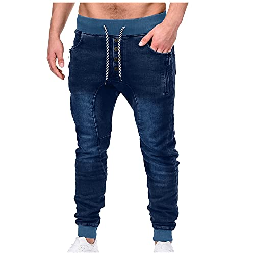 BIBOKAOKE Jeans Herren Plus Size Lose Jeanshosen Taille Elastische Herrenjeans Lässige Denimhosen Sporthose Lange Jeanshose Stretch-Denim Männer Jeans-Hose Denim Pants Stretchdenim Hose