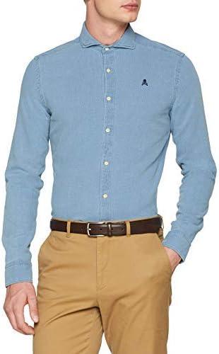 Scalpers Structura K.Shirt Camisa Casual, Azul (Indigo Indigo ...