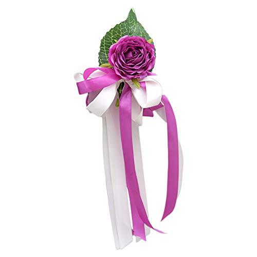 Demarkt - Decoración para coche de boda, flores artificiales, flores, nudos, espejo, decoración, flores, boda, carrocería, flor, nudo, espejo retrovisor, flor decorativa