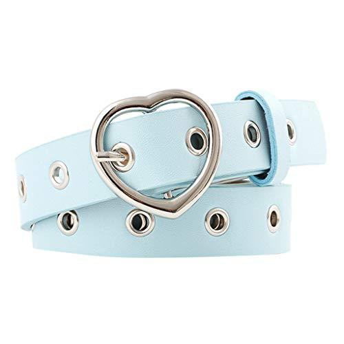 ZYZS Cinturón para mujer de corte de aire con hebilla, cinturón elástico y ancho azul celeste Talla única