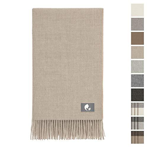 Couverture douillette Baby Alpaca dans 10 couleurs - 100% laine d'alpaga (ne gratte pas & douce) 200 x 130 cm - Plaid couvre-lit / couverture en laine certifiée Öko Tex 100 - beige uni