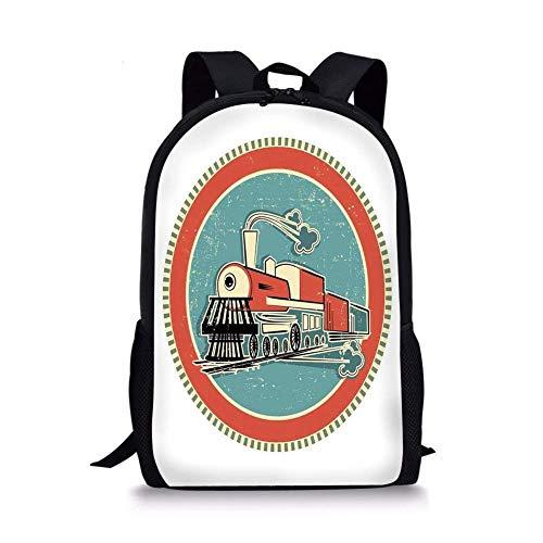 huatongxin Schultaschen Dampfmaschine,Vintage Style Orange und Blau Banner Zug Transport Retro Old Print,Weiß Coral Blue für Jungen Mädchen Herren Sport Daypack