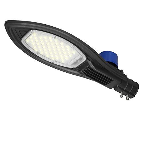 ECD Germany LED Straßenlampe 50W mit Dämmerungssensor - AC85-265V - Kaltweiß 6000K - Wasserdicht IP66 - für Garten/Hof/Straße - Straßenlaterne Straßenleuchte Hofleuchte Außen Licht
