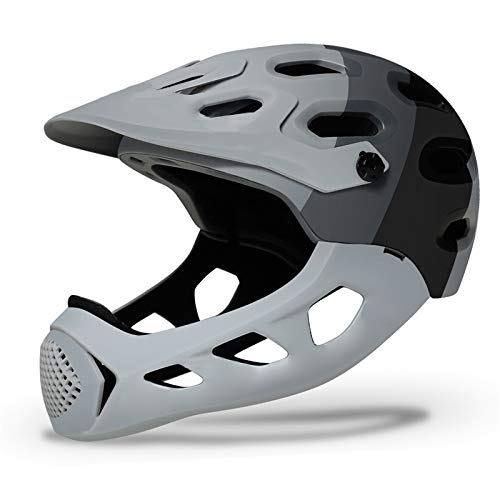 JHHXW Cycling Helmet, Removable Protective Chin Bar, Mountain Bike Full Face Extreme Sports Safety Helmet, M/L (56-62cm) (Color : Gray)