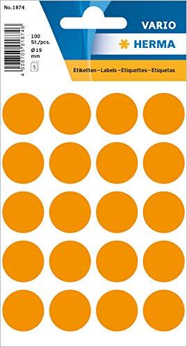 HERMA 1874 Vielzweck-Etiketten / Farbpunkte rund (Ø 19 mm, 5 Blatt, Papier, matt) selbstklebend, permanent haftende Markierungspunkte zur Handbeschriftung, 100 Klebepunkte, leuchtorange