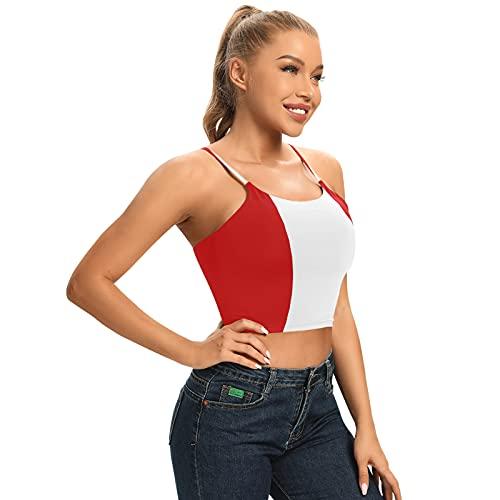Magnesis Camiseta de tirantes acolchada con diseño de bandera de Perú para mujer