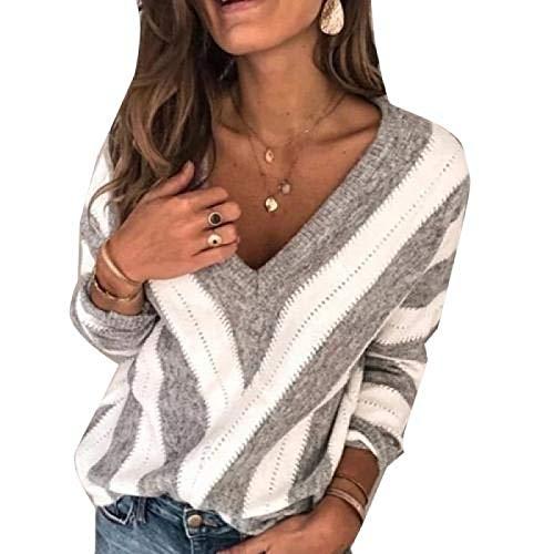 ZCMWY Frauen Herbst Langarm V-Ausschnitt Farbblock Loose Plus Size Sweater Damenbekleidung XL Grau
