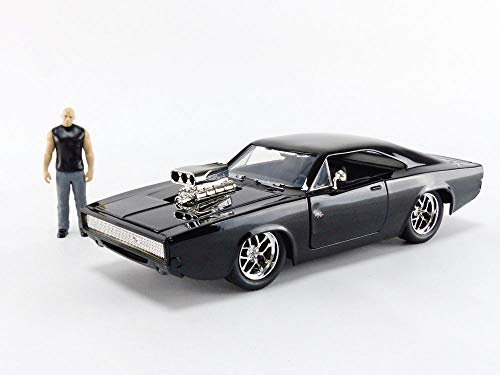 "JADA Toys Fast & Furious Dom & Dodge Charger R/T, 1: 24 Scale Black Die-Cast Car with 2.75"" Die-Cast Figure"