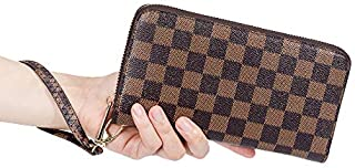 Women's Checkered Zip Around Wallet and Phone Clutch - RFID Blocking with Card Holder Organizer -PU Vegan Leather Checkbook Purse