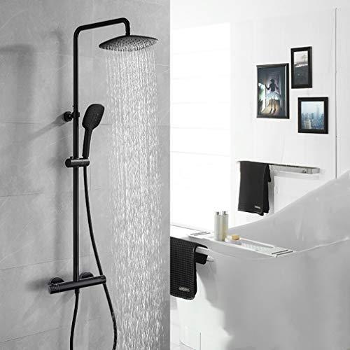 Duschset Regendusche mit Thermostat,Thermostat Duschset Duschsystem mit Überkopfbrause und 3 Funktion Handbrause,Höhen Einstellbar,Schwarz,PHASAT SB04