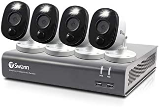 Swann 8 Channel 4 Camera Security System, Wired Surveillance 1080p HD DVR 1TB HDD, Audio Capture, Weatherproof, Color Night Vision, Heat & Motion Sensing Warning Light, Alexa + Google, SWDVK-845804WL