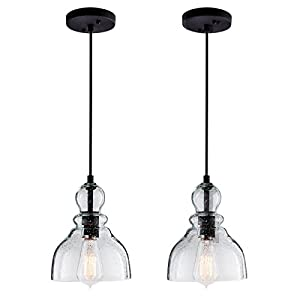 LANROS Farmhouse Kitchen Pendant Lighting with Handblown Clear Seeded Glass Shade, Adjustable Cord Mini Ceiling Light Fixture for Kitchen Island Sink, Matte Black Finish, 7inch, 2 Pack