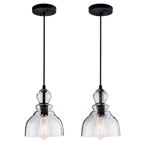 LANROS Farmhouse Kitchen Pendant Lighting with Handblown Clear Seeded Glass Shade, Adjustable Cord Mini Ceiling Light Fixture for Kitchen Island Sink, Black, 7inch, 2 Pack