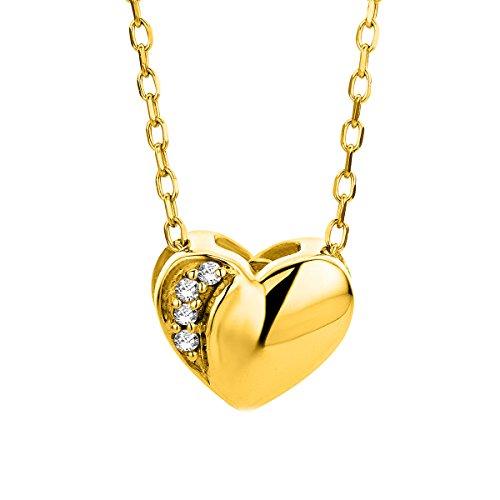 Orovi Collana - Pendente - Ciondolo Donna Cuore con Catena in Oro Giallo con Diamanti Taglio Brillante Oro 9 Kt / 375 Catenina Cm 45