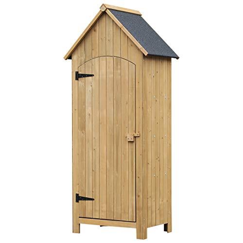 Outsunny Holz Gartenschrank Gerätehaus Gartenhaus Geräteschuppen Geräteschrank Holzhütte Giebeldach Bitumenpappe Natur 77,5 x 54,2 x 179,5 cm