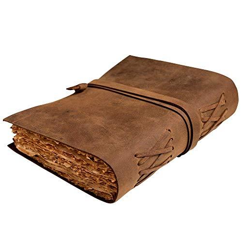 Vintage Leder Notizbuch | Antikes Notizbuch und Tagebuch Leder Einband|Buch der Schatten Notizbuch Leder | Maße 22,9 x 15,2 cm | Geschenke für Männer,Geschenk für Frauen,Tagebuch Mädchen oder Jungen