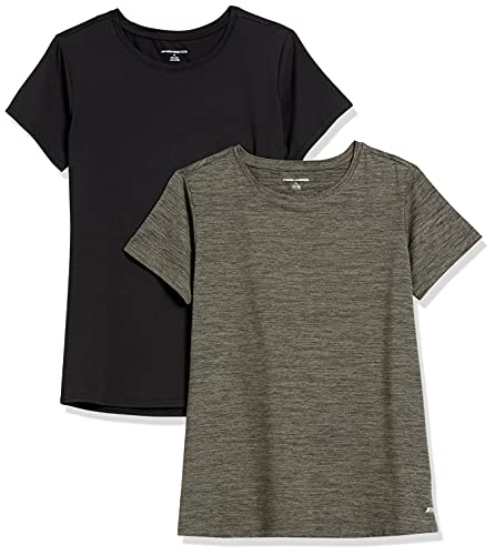Amazon Essentials 2-Pack Tech Stretch Short-Sleeve Crew T Athletic-Shirts, Olive Space Farbstoff / Schwarz, Small