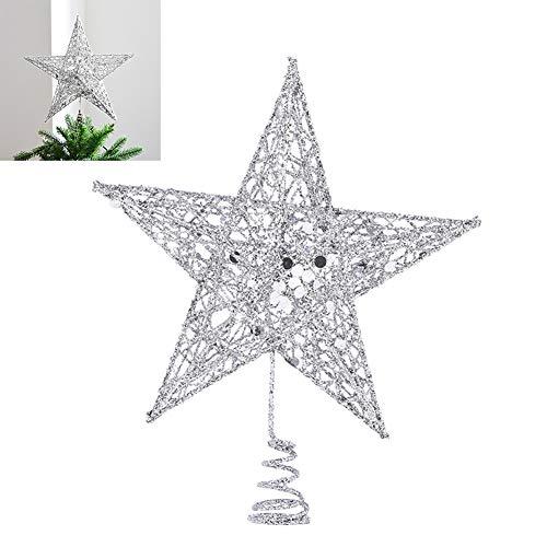EisEyen - Puntale per albero di Natale a forma di stella, in metallo, 25 cm, con glitter, colore: oro / argento / rosso argento