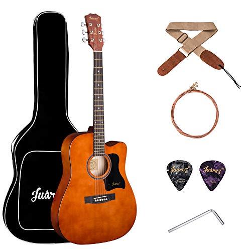 JUAREZ Fiésta 41 Inch Acoustic Guitar with Dual Action Truss Rod, 21 Frets Rosewood Fretboard & Bridge, Padded 5mm Cotton Bag, Cotton Strap, 2 Picks, Allen Key, Extra String Set, Brown