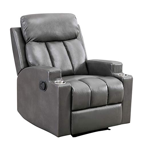 Merax Recliner Chair Lazy Sofa, Manual Ergonomic Design with Overstuffed Armrest, Footrest and 2 Cup Holders for Living Room, Grey