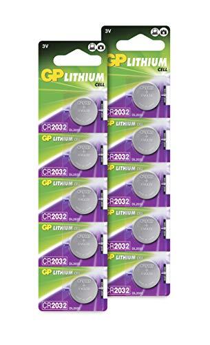 GP Batteries Extra Lithium Knopfzellen CR2032 3V, 10 Stück Knopfbatterien CR 2032 3 Volt (Original Blisterverpackung, 10x CR2032 Batterien einzeln entnehmbar)