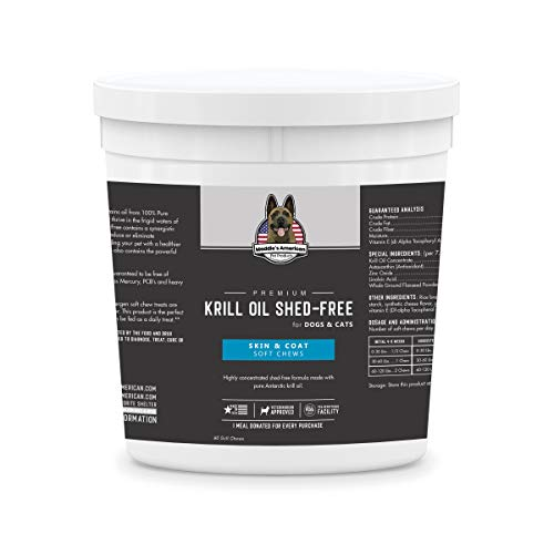 Maddie's American Pet Products Premium Krill Oil Shed Free 60ct - Up to 240 Day Supply - Hypoallergenic Skin and Coat Supplement - Stops Shedding