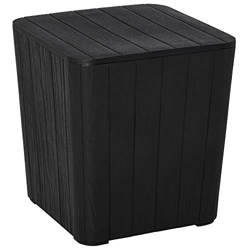 Outsunny 50L Outdoor Patio Wood Effect Square Coffee Table Storage Bar Table Garden Furniture Bucket - Black