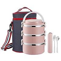 積み重ね可能なステンレススチール製ランチボックス ピンク ZFKFH-Pink-002