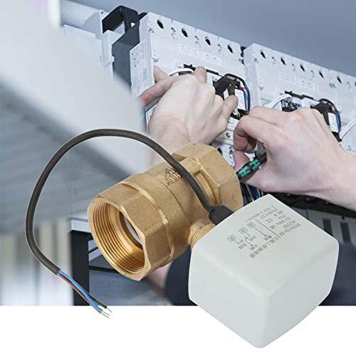 Válvula de bola, AC220V DN50 Válvula de bola eléctrica motorizada de latón de 2'pulgadas, 2 vías, 3 cables, que se usa para regular el flujo de fluido en ventilación, calefacción, aire acondicionado,