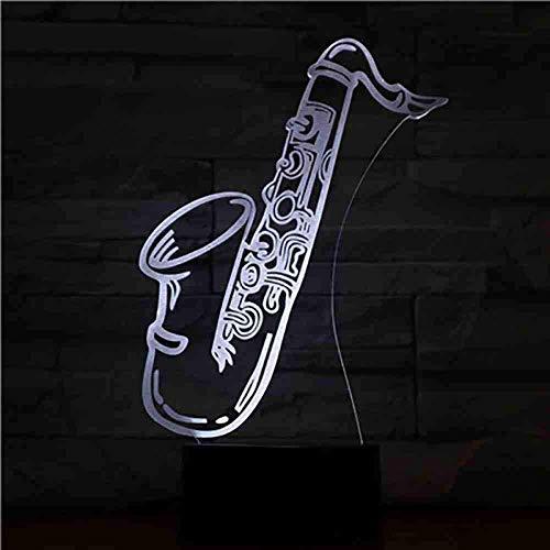 USB 3D LED nachtlampje Saxofoon multicolor jongens kind kinderen baby geschenken muziekinstrument sfeer tafellamp nachtkastje neon