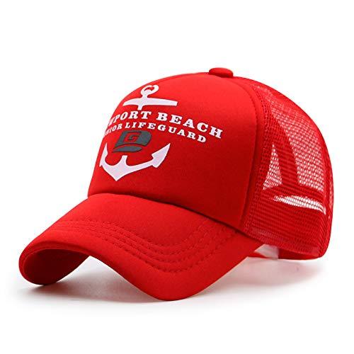 sdssup Baseballmütze Frühling und Sommer cool atmungsaktiv Kombi Hut Outdoor Sport Schatten Netz Hut rot verstellbar 56-59cm