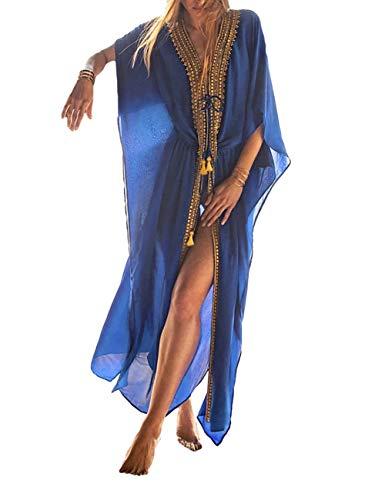 Bsubseach Damen Bohemian Chiffon Bikini Badeanzug Überzug Bademode Quaste Cardigan Gr. onesize, Blau 3