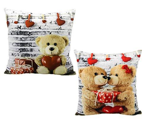MONTANCHEZZ Confezione da 2 federe per cuscino, 45 x 45 cm, 45 x 45 cm, stampa digitale, texture setosa, stile moderno, con motivo a orsetto, colore: bianco