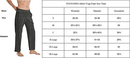 FEDTOSING Men's Cotton Yoga Sweatpants Open Bottom Workout Running Pants Loose Fit Lounge Athletic Pants with Zipper Pocket