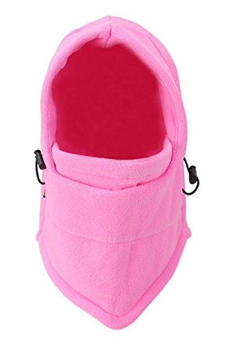 Pasamontañas térmico de WSLCN, unisex, para niños y adultos, de forro polar térmico rompevientos, para exteriores, ciclismo, snowboard o esquí, mujer, MZ0400-2Adult, Pink Adult